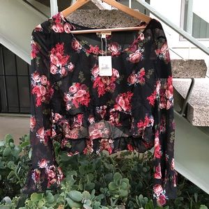 Floral Crop Top with Bell Sleeve Size M NWT